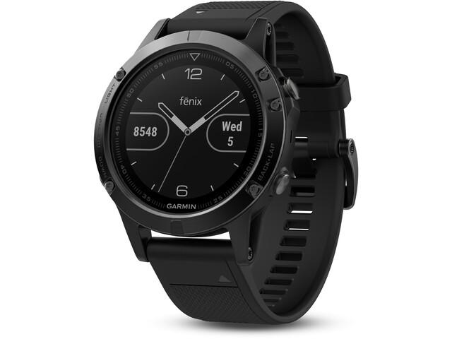Garmin fenix 5 Zegarek sportowy GPS z czarnym paskiem, saphir